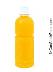 orange juice in Plastic bottle isolated on white