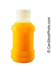orange juice in plastic bottle isolated