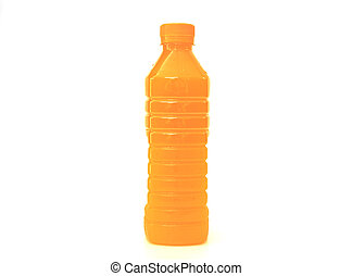 orange juice in plastic bottle on background