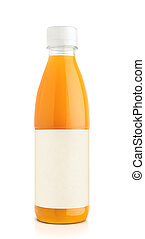 Orange juice in plastic bottle on white background