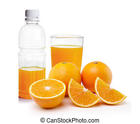 orange juice in the Plastic bottle and glass