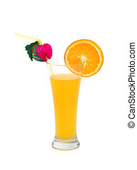 Orange juice isolated on the white background