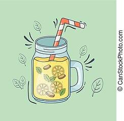 orange juice jar with straw