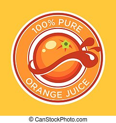 Orange juice label design - Vector orange juice label design