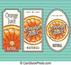 Orange juice labels set