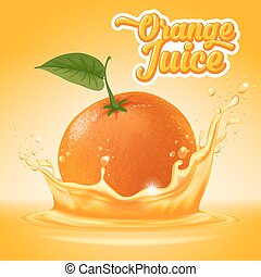 Natural orange juice label design template. Ripe fresh fruit with splash. Vector illustration.