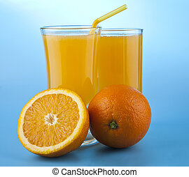 orange juice on a blue background