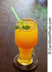 Orange juice on the table