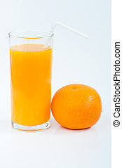 Orange Juice on white background .