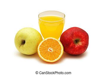 Orange juice, orange and two apples isolated on white