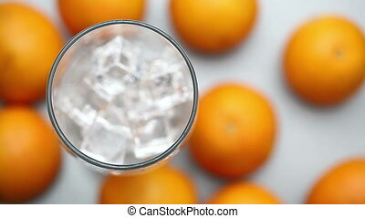 orange juice poured into a glass