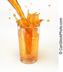 Orange juice pouring into a glass, forming a splash. On ...