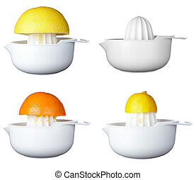collection of freshfruit juice preparation, on white background. each one is in full camera resolution