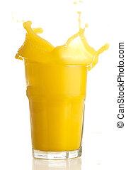 orange juice splash on a white background