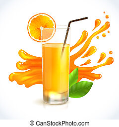 Orange juice splash - Orange juice healthy drink in glass...