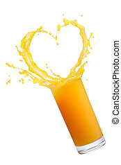 orange juice splash - orange juice with heart shape splash...