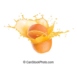 orange juice splash with orange