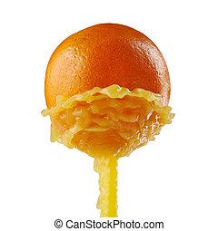 orange juice splashing on a white background