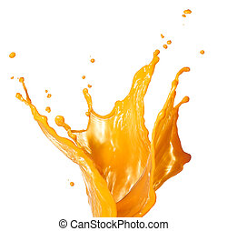 orange juice splashing - orange juice splash isolated on...