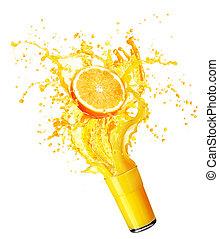 Orange juice splashing with its fruits isolated on white