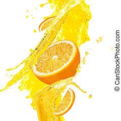 Orange juice splashing with orange fruit.