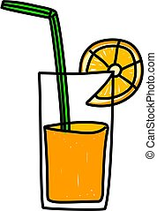 orange juice - glass of refreshing orange juice isolated on...