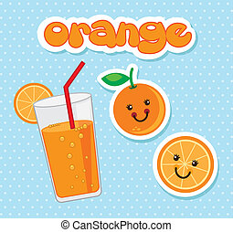 orange juice over blue background. vector illustration