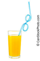Orange juice with drink straw in glass isolated on white with clipping path included