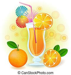 Orange juice with fresh fruits