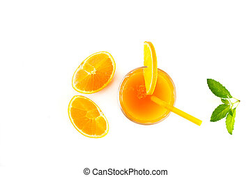 Orange juice with mint and slices of fresh orange top view on white background