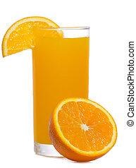orange juice with slice of orange on white background