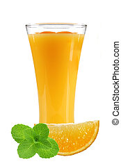 orange juice with slices of orange and mint in the glass isolated on white