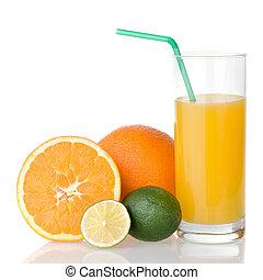orange juice with straw and orange, lime isolated on white
