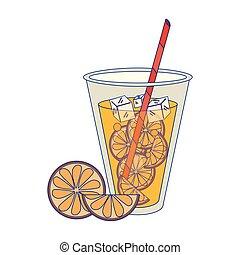 Orange juice with straw cartoon isolated