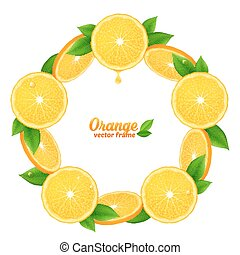 Orange juicy slices with leaves vector round frame