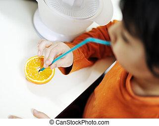 orange, junge, wenig