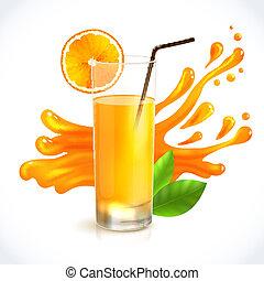orange, jus, éclaboussure