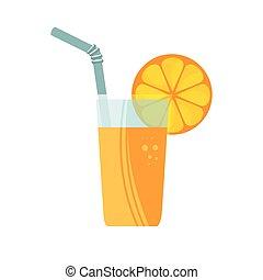 orange, jus,  fruit, icône