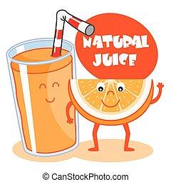 orange, jus, naturel