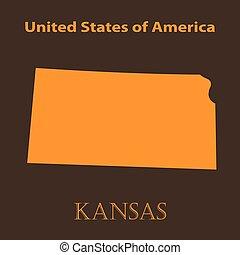 Orange Kansas map - vector illustration.