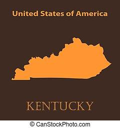 Orange Kentucky map - vector illustration.