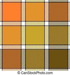 Orange khaki marsh color check plaid seamless pattern
