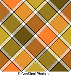 Orange khaki marsh color diagonal check plaid seamless pattern