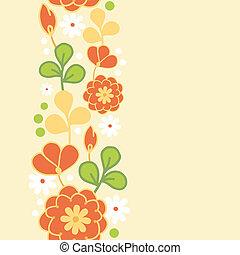 Orange kimono flowers vertical seamless pattern border