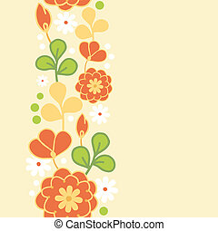 Orange kimono flowers vertical seamless pattern border -...