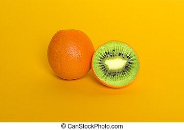 orange, kiwi., collage, modifié, surréalisme, nourriture, ...