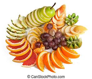 Orange, kiwi, grapes, apple, pear