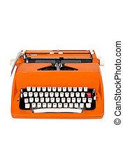 orange, klassisch, schreibmaschine