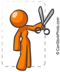 Orange Lady Coupon Cutting - An orange lady against a big...