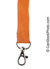Orange Lanyeard cord with chrome metal hook isolated on...